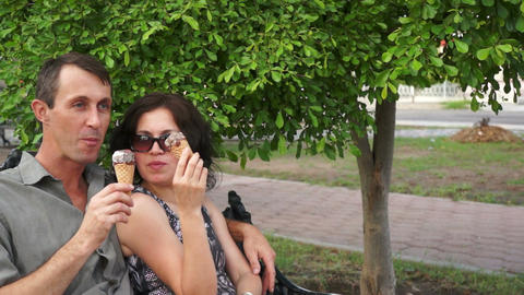 Playful Couple Eating Ice Cream Stock Video Footage