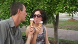 Playful Couple Eating Ice Cream stock footage