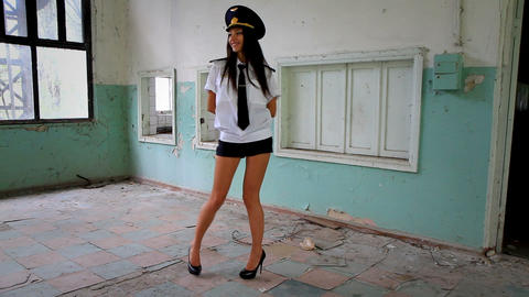 Beautiful girl posing for the camera in clothing cadet. 10 Stock Video Footage
