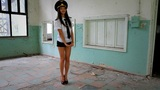 Beautiful girl posing for the camera in clothing cadet. 10 Footage