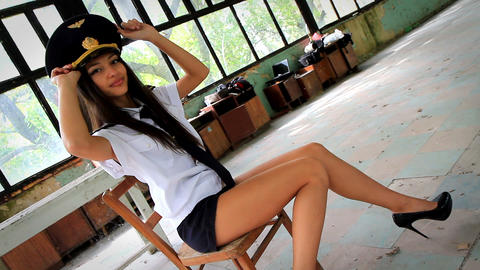 Beautiful girl posing for the camera in clothing cadet Stock Video Footage