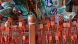 Chinese immortals Buddhist Vajra sculpture,Red sign make wish Footage