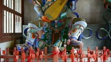 Chinese immortals Buddhist Vajra sculpture holding a pipa lute instruments in ca Footage
