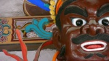 Chinese Immortals Buddhist Vajra Sculpture In Carved Beams Painted Buildings,majestic Face stock footage