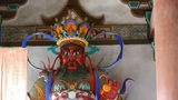 Chinese immortals Buddhist Vajra sculpture & pregnant Maitreya in carved bea Footage
