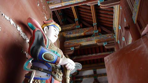 Chinese immortals Buddhist samurai Vajra sculpture in... Stock Video Footage