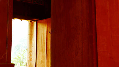 Close red wooden door,old wood texture,historical artifacts Stock Video Footage