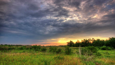 HDR Landscape with a time lapse of running clouds Stock Video Footage