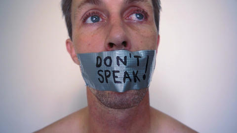Speak No Evil Duct Tape Stock Video Footage