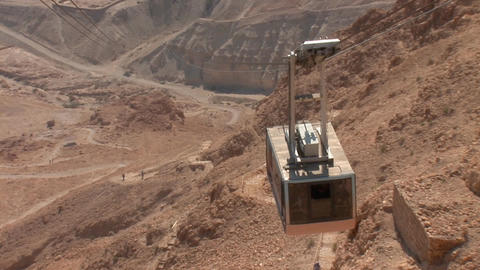 cableway on Mount Masada 2 Stock Video Footage