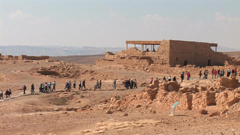 string of people in the fortress Masada Stock Video Footage