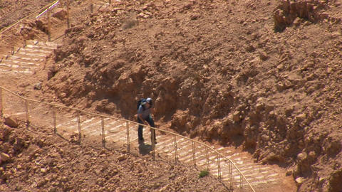 Climbing the stairs to the fortress Masada Footage