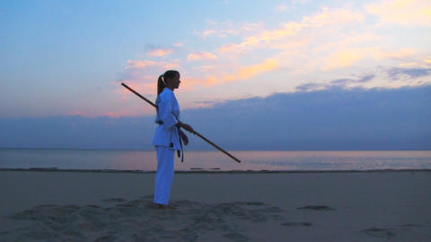 karate on sunset beach Stock Video Footage