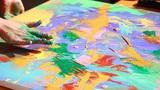 Artist paints a picture 2 Footage