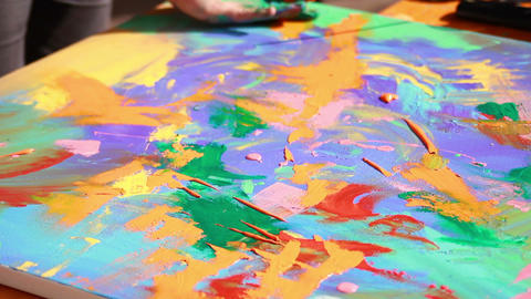 Artist paints a picture 2 Stock Video Footage