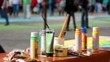 Artist paints a picture 4 Footage