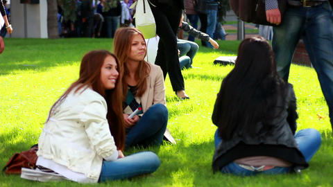 Youth people in the park 1 Stock Video Footage