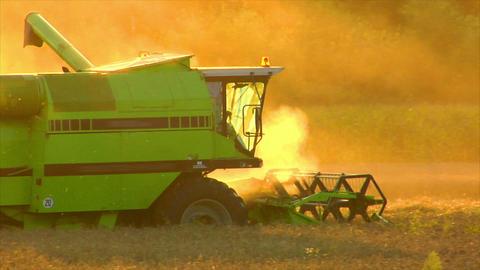 10720 combine harvester sundown twilight Stock Video Footage
