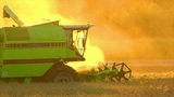 10720 Combine Harvester Sundown Twilight stock footage