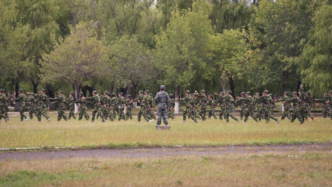 Military Training Of Chinese Students 06 Stock Video Footage