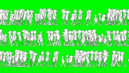 CARTOON CHARACTERS WALKS ON A GREEN SCREEN Stock Video Footage