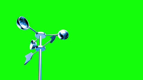 Anemometer (Loop on Green Screen) Stock Video Footage