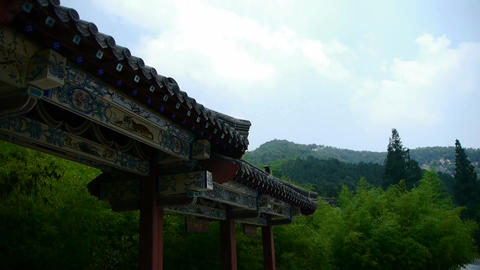 China ancient architecture in bamboo forest,mountain... Stock Video Footage