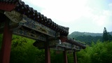 China ancient architecture in bamboo forest,mountain hill,carved beams,painted b Footage