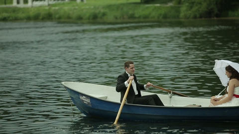Wedding couple in rowboat Footage