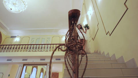 Bride walks down the stairs Footage