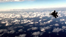 F-15 Eagle Fighter Jet Above The Clouds stock footage