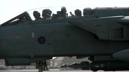 Royal Air Force Tornado jet pilots waving Footage