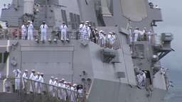Manning the rails as USS Chung Hoon departs Joint Base Pearl Harbor-Hickam Footage