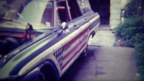 1971: Car Customized With American Flag Paneling And Wild Interior Decor. DES MO stock footage