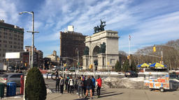 Pedestrians crossing the street by Grand Army Plaza Footage