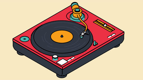 Video icon of a vinyl player rotates a vinyl disc Animation