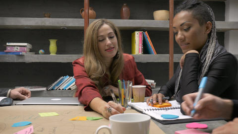 A creative team of millennial women and men write down ideas on sticky notes whi Footage