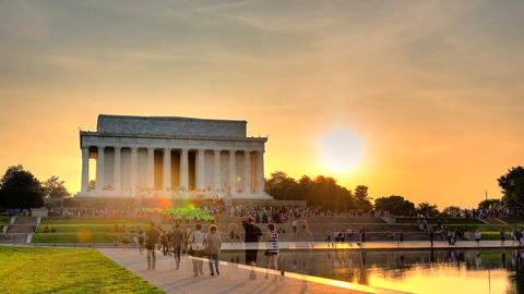 Sunset Behind Lincoln Memorial - HDR Timelapse 2 Footage
