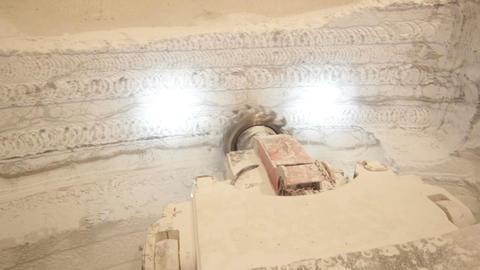 Crushing Machine Works in Deposit of Limestone Footage