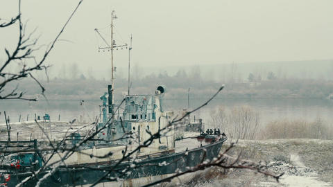 A ship on the river Footage