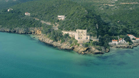 Aerial View Ocean Coastal Landscape Footage