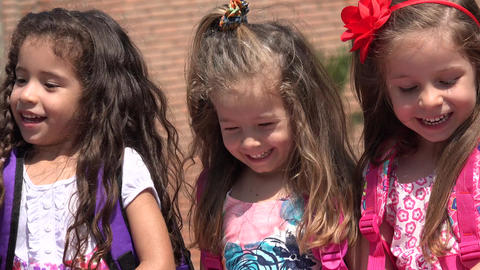 Adorable Children Girls Having Fun Live Action