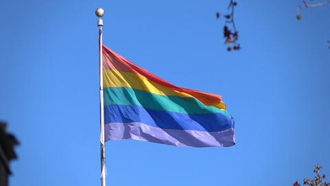 Two videos of rainbow flag in real slow motion Footage