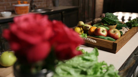 Fresh market fruits and vegetables in wooden tray Footage