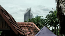 Malaysia Kuala Lumpur 030 red roofs and palm treetops Footage