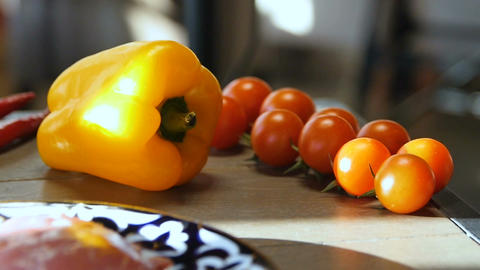 Macro Vegetables Yellow Bell Pepper Red Tomatoes on Table Footage