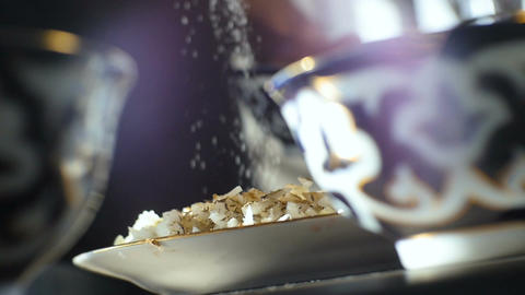 Closeup Cook Pours Spice Over Rice at Bowls on Table Footage
