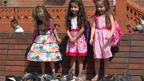 Girls Children Playing With Pigeons Footage