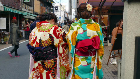 Geishas Walking In The Streets Of Kyoto Japan Asia Footage