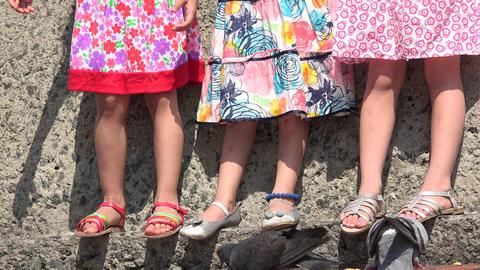 Toddler Or Preschooler Girls Standing Live Action